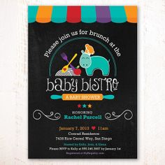 """Baby Bistro Baby Shower Invitation - PRINTABLE or Printed – 5x7"""" PRINTABLE Invitation customized with your party details."""