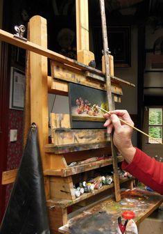 Art easel, home art, art studio at home, art studio design, small shelv Art Studio Storage, Art Studio Room, Art Studio Design, Art Studio Organization, Art Studio At Home, Art Storage, Painting Studio, Home Art, Art Supplies Storage