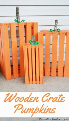 Fall DIY Decorating DIY Idea Wooden Crate Pumpkins- perfect for your front porch for the fall season! Wooden Crate Pumpkins are an easy fall DIY and are great for the entire season! They brighten up the front porch in no time at all! Upcycled Crafts, Fun Diy Crafts, Fall Crafts, Holiday Crafts, Simple Crafts, Creative Crafts, Sewing Crafts, Fall Pumpkins, Halloween Pumpkins