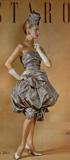 1959 Dior designer couture vintage fashion the bubble skirt dress cocktail tan taupe brown white dot print strapless matching hat bows let 50s early 60s unusual unique style