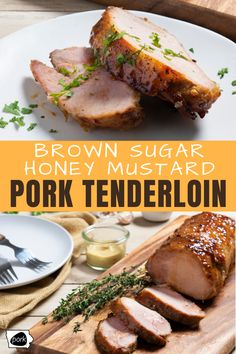 This Brown Sugar Honey Mustard Pork Tenderloin is flavorful, tender and super juicy. Once you try it, you& be making it all summer long! Grilling Recipes, Pork Recipes, Chicken Recipes, Cooking Recipes, Healthy Recipes, Recipies, Mustard Pork Tenderloin, Pork Tenderloin Recipes, Pork Chops