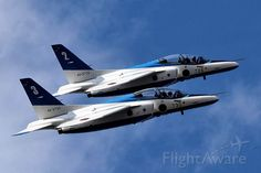 Acrobatic flight of the Blue Impulse.(Japan Air  Self-Defense Force )  KAWASAKI T-4 (46-5730)
