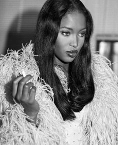 naomi campbell style PART 2 Naomi Campbell for Vogue Italia, February 1995 Photographed by Bruce Weber Fashion Edito Claudia Schiffer, Top Models, Black Models, Women Models, Models Style, Veronica Lake, Black Girl Aesthetic, 90s Aesthetic, Hairstyles Bangs