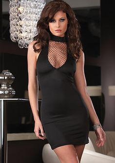 Black, halter style high neck stretch chemise, elegent way in this sexy style; matching thong included.  www.lingerie-life.co.uk