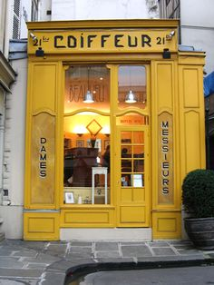 Paris Hairdresser Store Front in Yellow Coiffeur