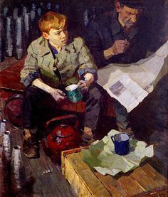 Tea time, 1965 by Victor Lashin born 1923 in Vladimir Province, Russia