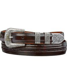 Lucchese Mens Black Cherry Goat with Hobby Stitch Leather