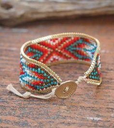Boho style woven pattern seed bead cuff bracelet
