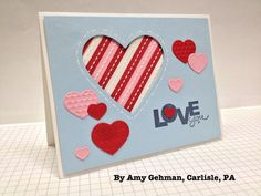 A candy-striped Valentines Card by Amy Gehman ♥♥♥