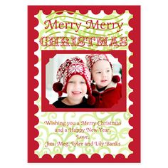 Merry Christmas Stamp Holiday Greeting Card. Merry Christmas Stamp Holiday Greeting Card: Beautiful Custom Photo Holiday Greeting cards by take note! designs. Cards are digitally press printed FRONT and BACK on white, smooth, extra heavy weight cardstock. This unique card design uses the colors: Red and Green.. Price: $59.80