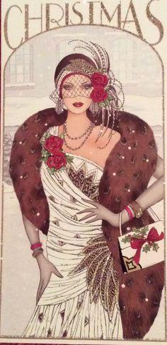 Art Deco - vintage-style Christmas print
