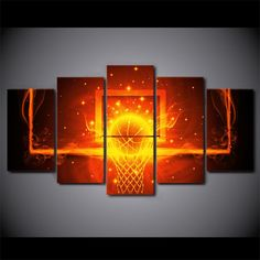 Canvas Art Basketball Hoop Backboard w/ Fire Print Wall Art on Canvas