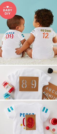 Baseball season is in full swing. Rally behind your favorite team by making a personalized bodysuit for your favorite little fan in 3 easy steps. Step 1: Gather your supplies: Gerber Onesies (any color; any style), and Hand Made Modern letter and number stencils, fabric paints and foam brush, and a piece of cardboard so paint doesn't bleed through. Step 2: Slip the cardboard inside the Onesie, and arrange the letters and number on the back. Step 3: Dab on paint to fill in the stencil; let…