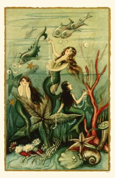 vintage mermaid art :) this is art. Not meant to be reproduced or sold or used for advertising in any way. It is only meant to be viewed in the context that pinterest inteded, and it was not maid by me.