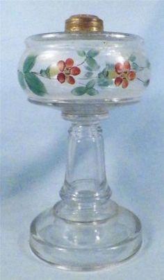 Miniature PINWHEEL Oil Lamp Complete w Crimp Top Chimney Burner Wick Antique   eBay