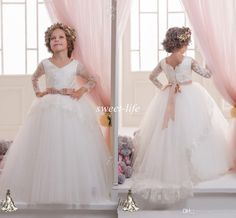 2015 Long Sleeves Flower Girls Dresses Ball Gown Tutu Lace Sash with Train V Neck Kids Wedding Party Birthday Dress Girls Pageant Dresses Online with $59.71/Piece on Sweet-life's Store | DHgate.com