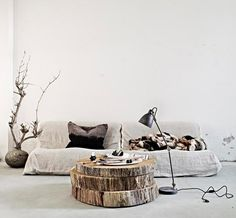 Tree slices as coffee table
