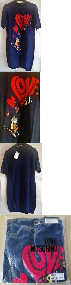 Sweaters 63866: Love Moschino Short Sleeve Wool Blend Knit Sweater Dress Women S Blue Size 4 -> BUY IT NOW ONLY: $99.99 on eBay!