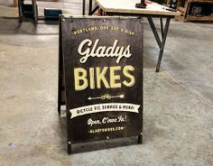 Hand-made A-Frame Sign for Gladys Bikes