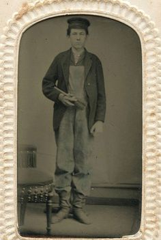 Gent in frock coat and overalls, circa Victorian Mens Fashion, Victorian Life, Antique Pictures, Old Photos, Historical Clothing, Historical Photos, Thanksgiving Books, Civil War Fashion, Daguerreotype
