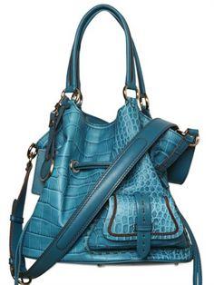 Lancel Premiere Flirt Leather Croco Print Shoulder Bag