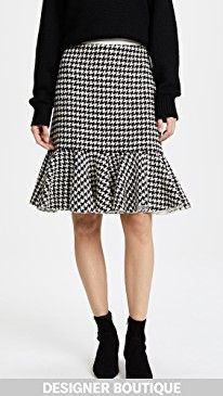 New Giambattista Valli Flounce Hem Houndstooth Skirt online. Perfect on the The Mighty Company Clothing from top store. Sku ygmx46903wnov22921