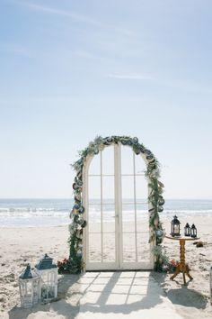 Gorgeous beach ceremony decor: http://www.stylemepretty.com/california-weddings/santa-barbara/2015/01/14/vintage-chic-rincon-beach-club-wedding/ | Photography: Charise - http://www.photographybycharise.com/