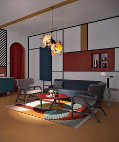funky-lamp-geometric-accent-wall-colorful-lounge