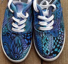 Zentangle sneakers, shoes, sneakers, zentangle art, original art, OOAK, womens sneakers, Custom sneakers, handpainted. $32.00, via Etsy.
