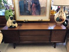 "Console Stereo   59.5"" Wide x 17"" Deep x 24"" High   $950  Dealer #81  Top Drawer Antiques & Mid Mod Shop  10622 E. Northwest Hwy. Dallas, TX 75238"