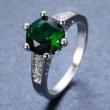 Unique Jewelry - Fashion Jewelry 925 Silver 1CT Emerald Women Wedding Bridal Ring Size 8
