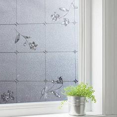GreenForest statica finestra Film cucciolata fiore vetrofania per protezione Privacy bagno doccia camera 45*200cm/17.7*78.7inches