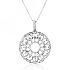 Rudells A stunning Diamond set kaleidoscope motif pendant shines bright in 18ct White Gold D1.02 - Large Image