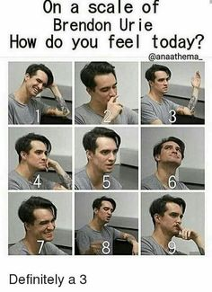 On a scale of  brendon urie. How do you feel today