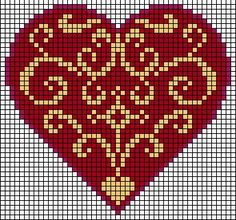 Heart cross-stitch charts - free.