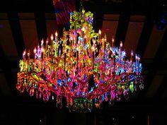 Rainbow chandelier via Lovely Reveries - All For Decoration Glass Chandelier, Chandelier Lighting, Chandelier Ideas, Crystal Chandeliers, Beaded Chandelier, Lighting Store, Purple Chandelier, Christmas Chandelier, Ceiling Lighting