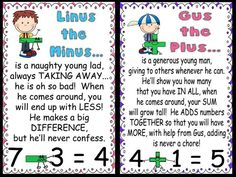 A great introduction to kindergarten students on the concept of plus and minus. It is very important to show that math can be fun and I think this image does just that. This could be used along with many other visuals and counting objects that show how basic addition and subtraction works. Perhaps there is even a short Linus the Minus or Gus the Plus video somewhere.