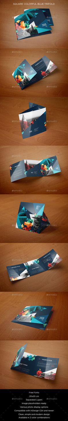 Square Colorful Blue Trifold on Behance Graphic Design Brochure, Graphic Design Trends, Layout Design, Print Design, Flyer Design, Design Ideas, Leaflet Design, Print Templates, Typography Design