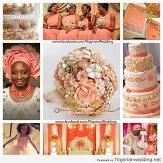 Nigerian wedding colour schemes| Peach & cream  #nigerianweddingvendors #honeydropartistry #weddingcolors #naija