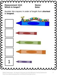 FREE Measurement Worksheets - First, you will receive a free printable measurement worksheet for students. Next, students will order objects from smallest to largest. First Grade Measurement, Measurement Kindergarten, Measurement Worksheets, 1st Grade Math Worksheets, First Grade Math, Kindergarten Math, Grade 1, Preschool, Number Worksheets