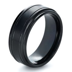 Love this black custom mens wedding ring from Joseph Jewelry. So cool!  For josh