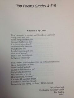 A Monster is in my Closet poem written by Taylor.