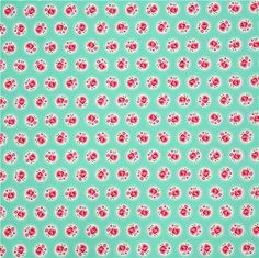 mint green flower fabric Lil' Dotsy by Michael Miller USA 4