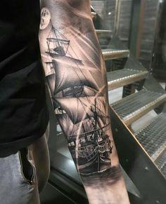 Forarm Tattoos, Forearm Tattoo Men, Leg Tattoos, Tattoos For Guys, White Tattoos, Arrow Tattoos, Ship Tattoo Sleeves, Arm Sleeve Tattoos, Tattoo Ship