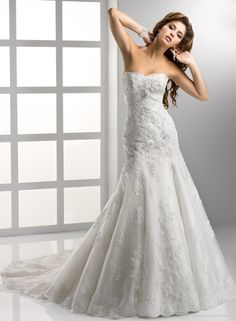 Embellished Lace And Tulle A-line Soft Sweetheart Neckline Fit and Flare Wedding Dress IBD0233_0