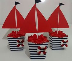Centro de mesa Barco   #barco #centro #de #mesa Baby Shower Themes, Baby Boy Shower, Baby Shower Decorations, Sailor Birthday, Baby Birthday, Sailor Theme, Nautical Party, Party Themes, Crafts