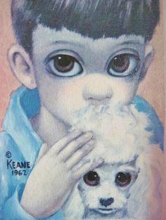 """Margaret / Walter KEANE Vintage Framed Poodle Art Print """"A Boy's Dog"""" 1962."""