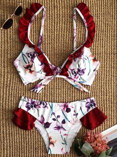 Ruffle Trim Floral Bikini Set