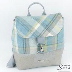 Blue check rucksack backpack shoulder bag - The British Craft House Cork Fabric, Grey Fabric, Cotton Fabric, Craft House, Tartan Pattern, Handmade Handbags, Rucksack Backpack, Blue Check, Gifts For Teens