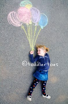 draw any sort of thing with chalk and have the kids on their backs to go with it.